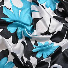 Textil - Čierno bielo tyrkysový satén - 5154663_