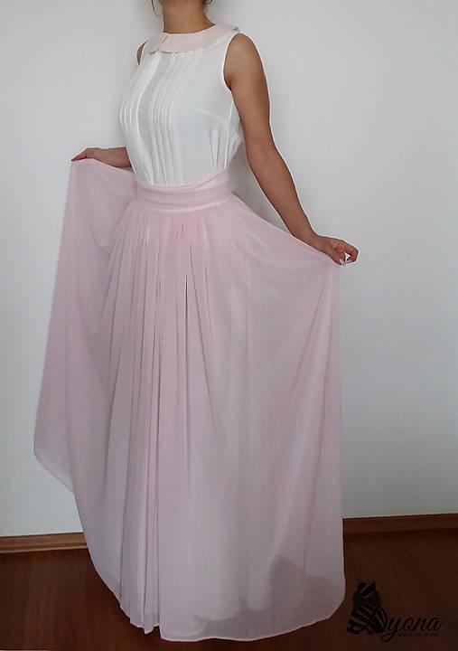 Spoločenská šifónová sukňa s nariaseným pásom rôzne farby