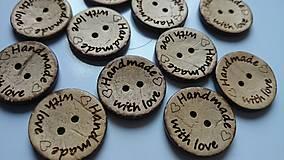 Galantéria - Kokosový gombík HANDMADE WITH LOVE - 5155007_