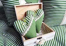 Dekorácie - srdiečko s vonou levandule zeleno-biela kombinácia - 5160517_