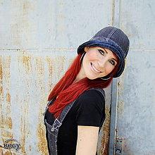 Čiapky - tmavěšedý džínový klobouk Pampalíny, unisex - 5159269_