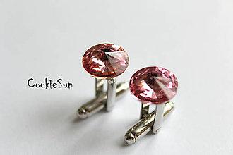 Šperky - Manžetové gombíky Swarovski Rivoli Light Rose - 5163331_