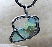 Náhrdelníky - Modrozelené sklo prívesok/náhrdelník - 5169592_