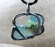Náhrdelníky - Modrozelené sklo prívesok/náhrdelník - 5169594_
