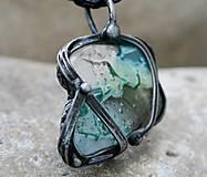 Náhrdelníky - Modrozelené sklo prívesok/náhrdelník - 5169596_