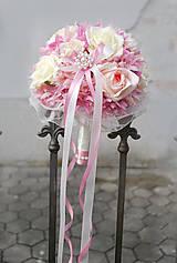 Kytice pre nevestu - Svadobná kytica nežne ružová - 5171894_