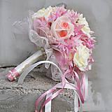 Kytice pre nevestu - Svadobná kytica nežne ružová - 5171895_