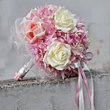 Kytice pre nevestu - Svadobná kytica nežne ružová - 5171896_