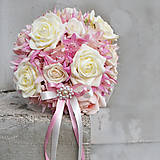 Kytice pre nevestu - Svadobná kytica nežne ružová - 5171898_