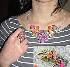 Sady šperkov - vintage flowers 3 náhrdelník, spona a prsteň - 5172950_