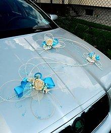 Darčeky pre svadobčanov - Svadobná výzdoba na auto- blue romantic - 5170921_