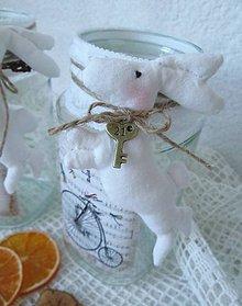 Nádoby - Shabby chic nádoba zo zajačikom - 5173542_