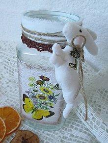 Nádoby - Shabby chic nádoba zo zajačikom - 5174196_