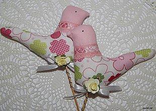 Dekorácie - Vtáčik ružový - zápich - 5174903_