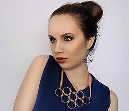 Náhrdelníky - metal & orange pastel washi náhrdelník - 5182448_