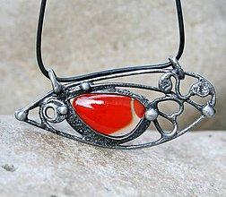 Náhrdelníky - Červené sklo prívesok / náhrdelník - 5182706_