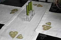 original handmade štóla + prestieranie 2 ks - srdce folk zelené
