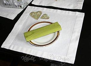 Úžitkový textil - original handmade štóla + prestieranie 2 ks - srdce folk zelené - 5184259_