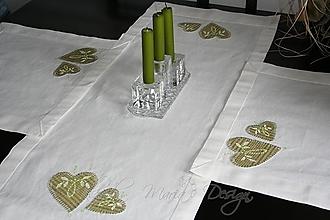 Úžitkový textil - original handmade štóla + prestieranie 2 ks - srdce folk zelené - 5184271_