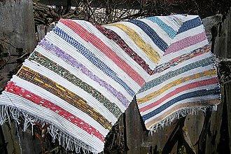 Úžitkový textil - Tkaný koberec farebný s bielymi pásmi - 5184061_