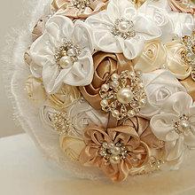Kytice pre nevestu - Svatební brožová kytice velká - 5188083_