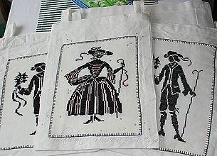 Úžitkový textil - dáma s košíkom - veľké vrecko - 5190185_