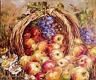 Obrazy - Zátišie s košíkom a jablkami - 5188379_