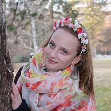 Ozdoby do vlasov - Kvetinová čelenka Pink Red - 5193011_