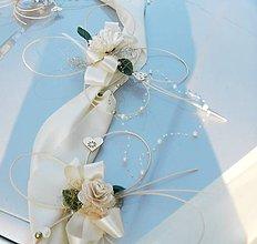 Dekorácie - Svadobná výzdoba na auto-luxus ivory-zlatá - 5192267_