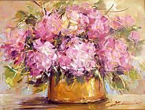 Obrazy - Kytica ružových hortenzií - 5199402_