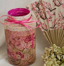 Dekorácie - Shabby chic sklenená nádoba - 5197256_
