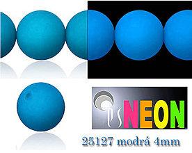 Korálky - Mačkané korálky Neon 25127 MODRÁ 4mm, balenie 25ks - 5196226_