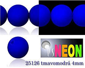 Korálky - Mačkané korálky Neon 25126 TMAVOMODRÁ 4mm, balenie 25ks - 5196244_