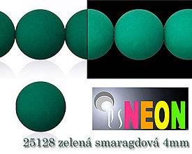 Korálky - Mačkané korálky Neon 25128 ZELENÁ SMARAGDOVÁ 4mm, balenie 25ks - 5196310_