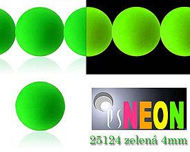 Korálky - Mačkané korálky Neon 25124 ZELENÁ 4mm, balenie 25ks - 5196510_