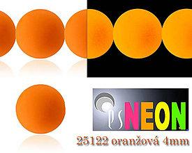 Korálky - Mačkané korálky Neon 25122 ORANŽOVÁ 4mm, balenie 25ks - 5198526_