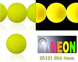 Korálky - Mačkané korálky Neon 25121 ŽLTÁ 4mm, balenie 25ks - 5198652_