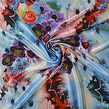 Textil - Vzorovaný satén pestrá kytica - 5202422_