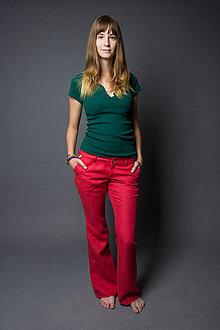 Nohavice - HempyJane, červené. Dámske 100% konopné nohavice - 5199941_