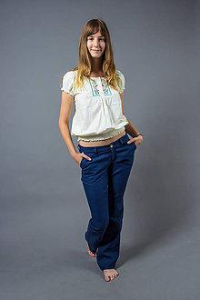 Nohavice - Dámske Classic, modré. Dámske 100% konopné nohavice - 5200245_