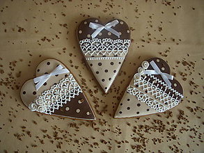 Dekorácie - medovníkové srdce-krémovo-hnedé - 5205156_