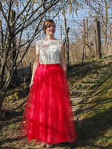 Sukne - Červená tylová sukňa - 5206997_