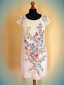 Šaty - Farebné kvety maľované na čipke... - 5204090_