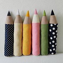 Úžitkový textil - Bodkované rôznofarebné ceruzky - 5207068_
