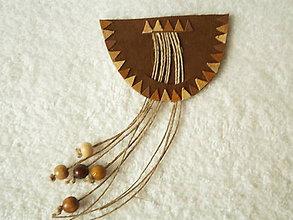 Odznaky/Brošne - Brošňa kožená, hnedá škála - 5204508_