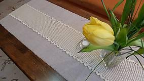 Úžitkový textil - Háčkovaný obrus  béžový pás - 5206626_