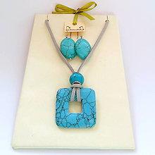 Sady šperkov - Sada - Tyrkenitový štvorcový donut - 5207618_
