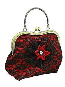 Kabelky - Spoločenská červená kabelka s čipkou 0950 - 5209975_