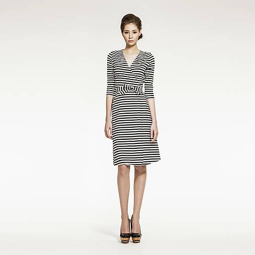 Šaty - Zavinovacie šaty pruhované - 5207842_