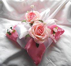 Prstene - Vankúšik na prstienky s ružami - 5208915_